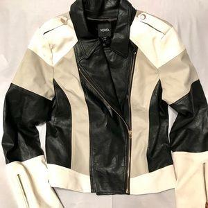 NWOT Gorgeous XOXO Vegan Leather Tricolor Jacket